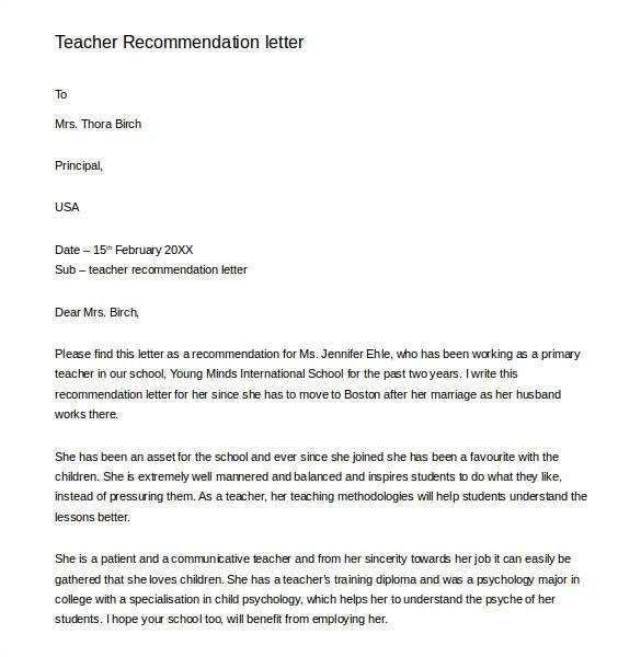 sample teacher recommendation