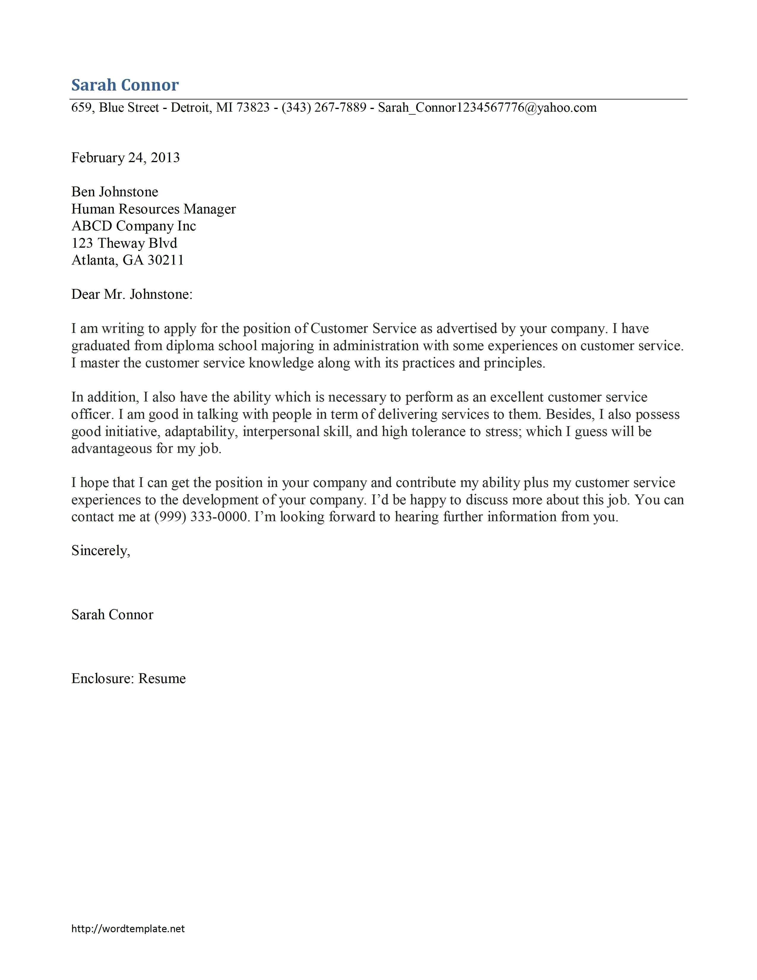 customer service cover letter sample uk