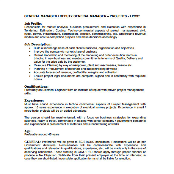 general job description template deputy general manager job description free pdf template