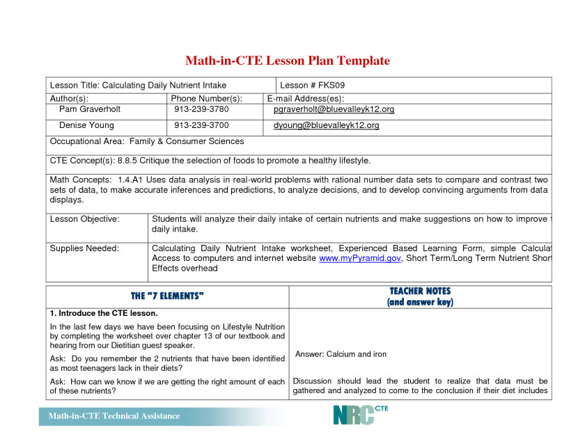 elementary math lesson plan template