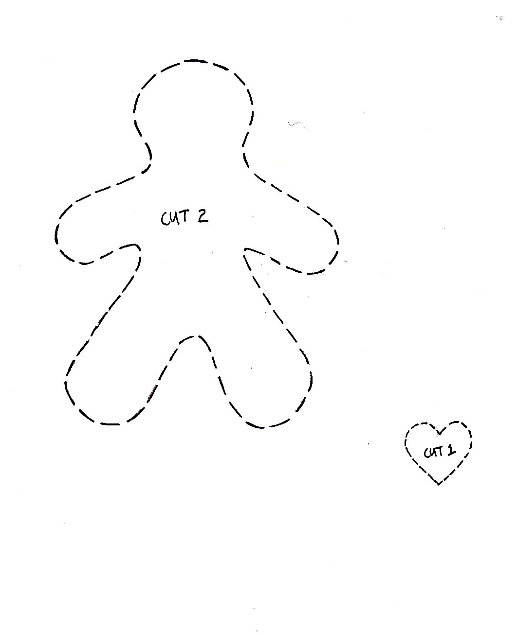 Gingerbread Man Decoration Template Cupcake Cutie Free Christmas Felt ornament Pattern