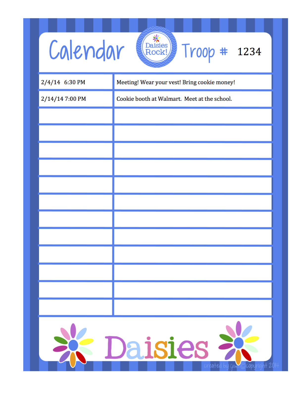 girl scouts daisies calendar word format