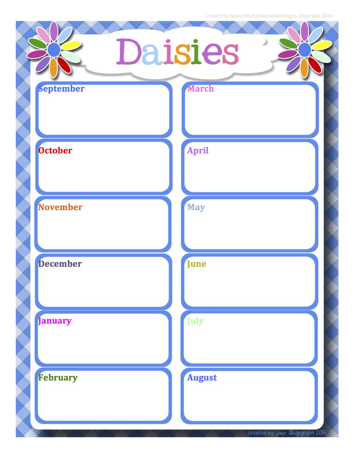 girl scouts daisies calendar word