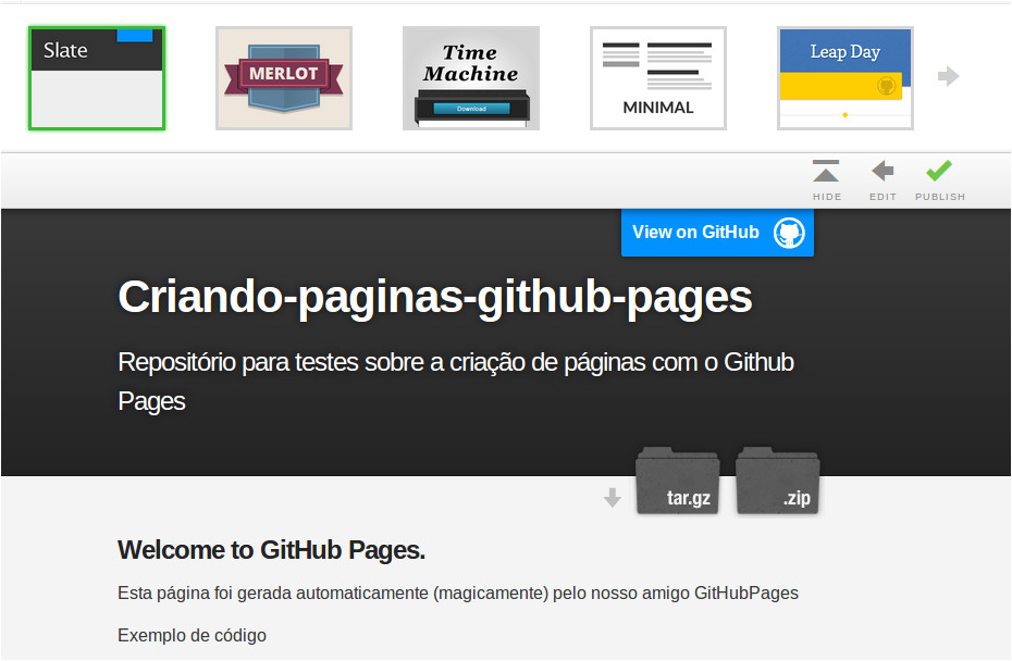 criando paginas web para seus repositorios com o github pages