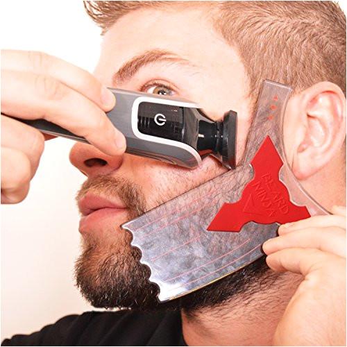 the beard ninja beard shaping tool template beard shaper guide for line up edging transparent styling stencil anti slip grip curvestepstraight cut goatee perfect neck line