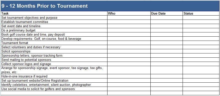 golf tournament planning template