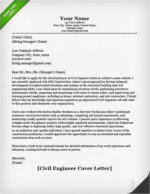 Good Cover Letter Examples for Engineers Engineering Cover Letter Templates Resume Genius