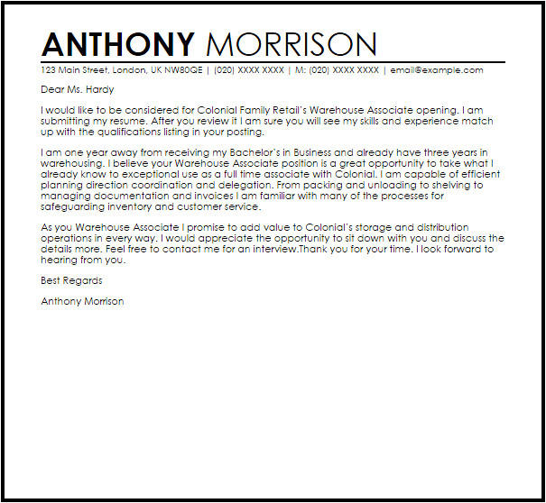 Good Cover Letter for Warehouse Job Warehouse associate Cover Letter Sample Cover Letter