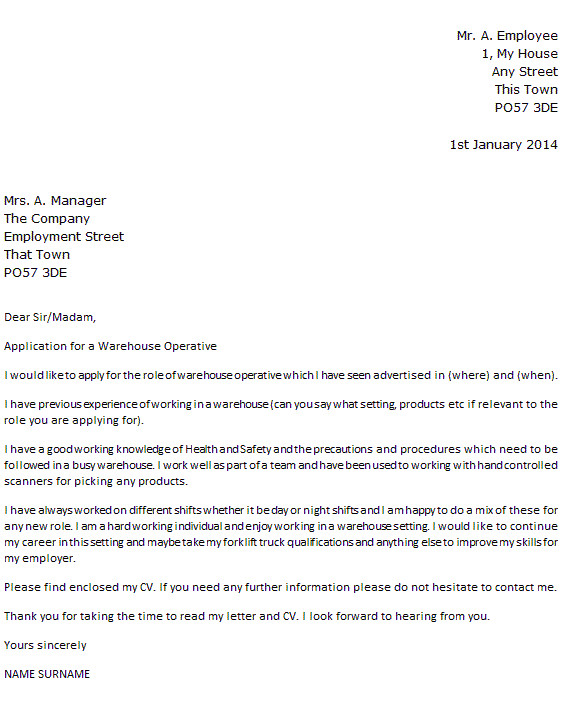 Good Cover Letter for Warehouse Job Warehouse Operative Cover Letter Example Icover org Uk