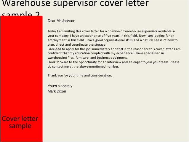 warehouse supervisor cover letter