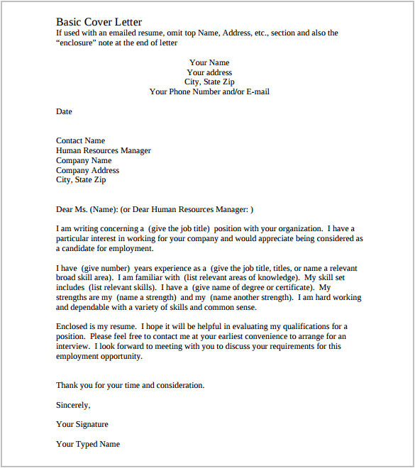 good cover letter template