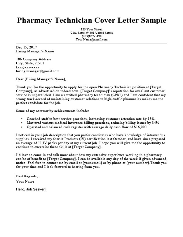 Good Cover Letters for Pharmacy Technicians Pharmacy Technician Cover Letter Sample Guide