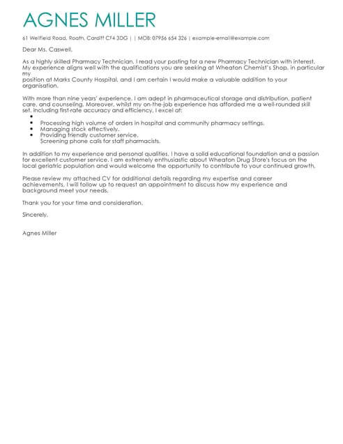 Good Cover Letters for Pharmacy Technicians Pharmacy Technician Cover Letter Template Cover Letter