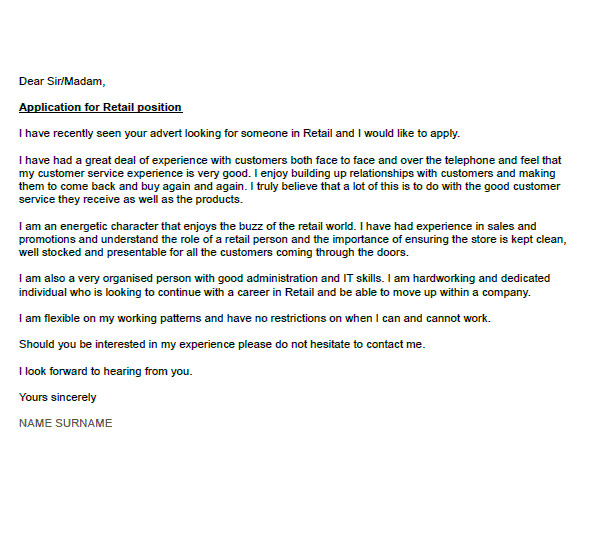 Good Covering Letter Example Uk Retail Cover Letter Example Icover org Uk