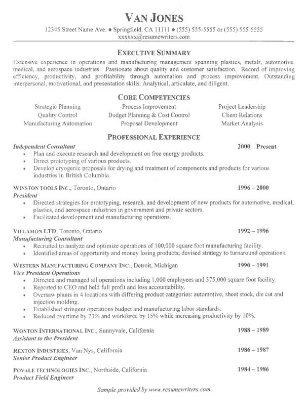 management resume example