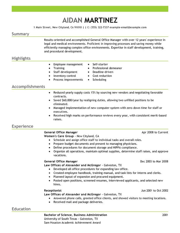 Good Resume Samples for Managers General Manager Resume Examples Free to Try today