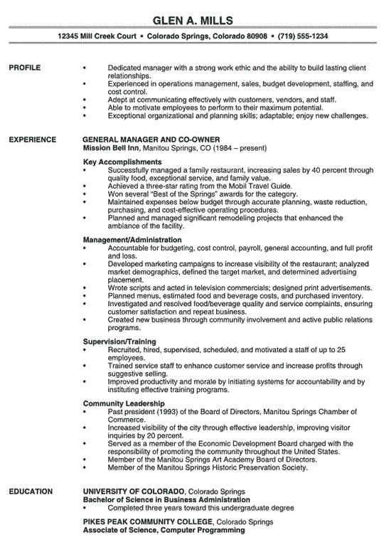 restaurant management resume example