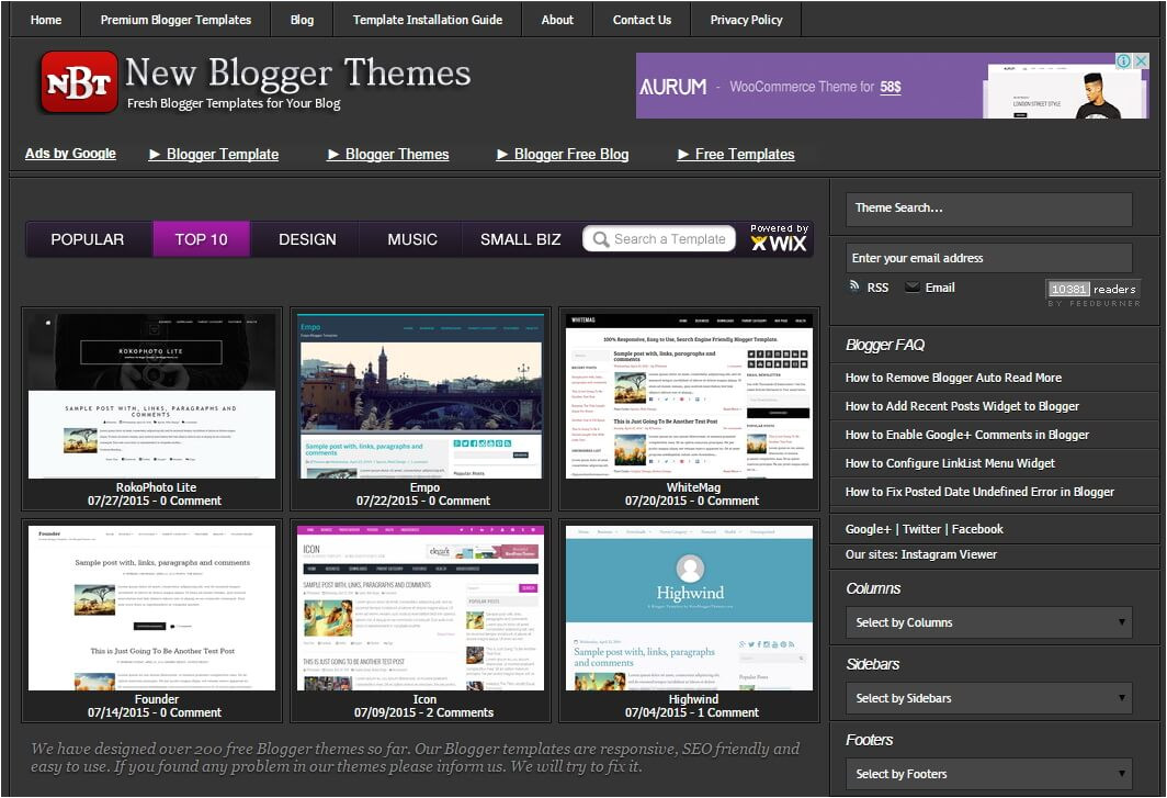google blogger templates