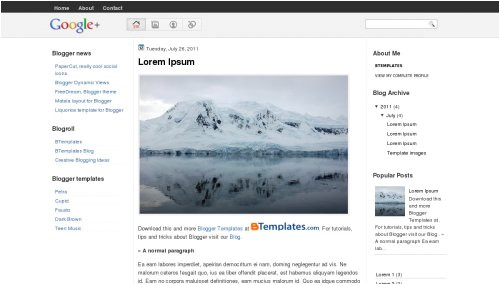 blogger template google plus