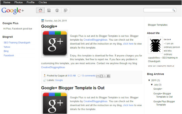 google plus design blogger template
