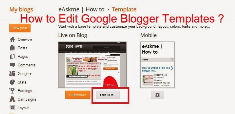 how to edit google blogger templates
