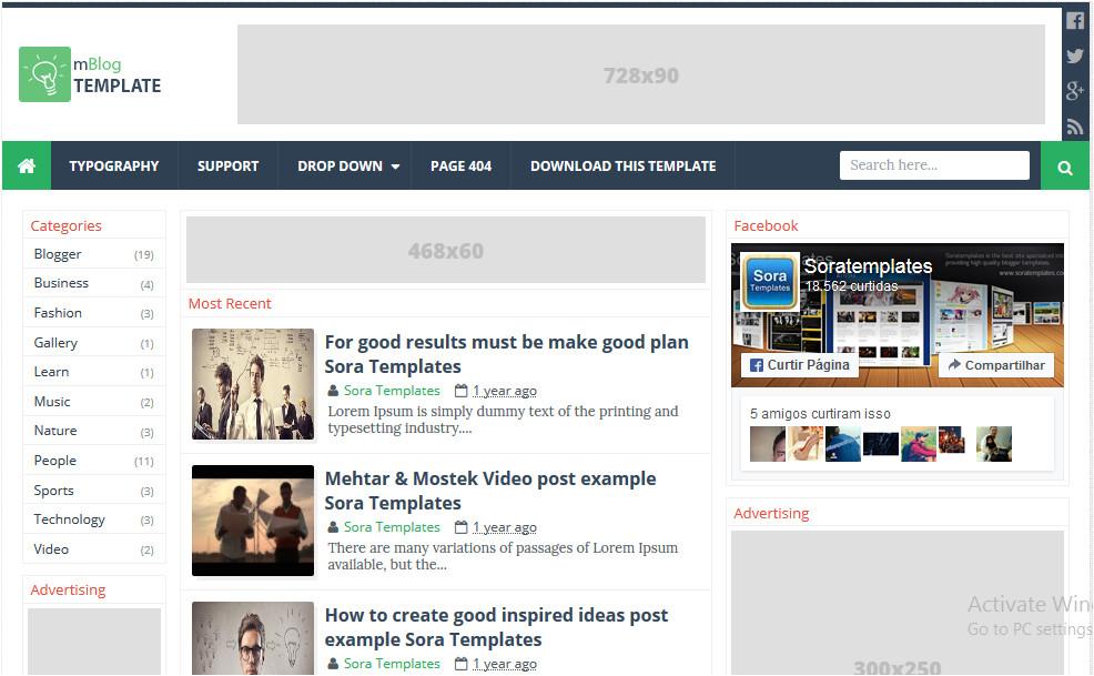 mblog adsense responsive blogger template