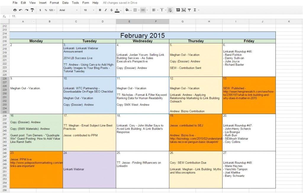 google docs calendar template 2014