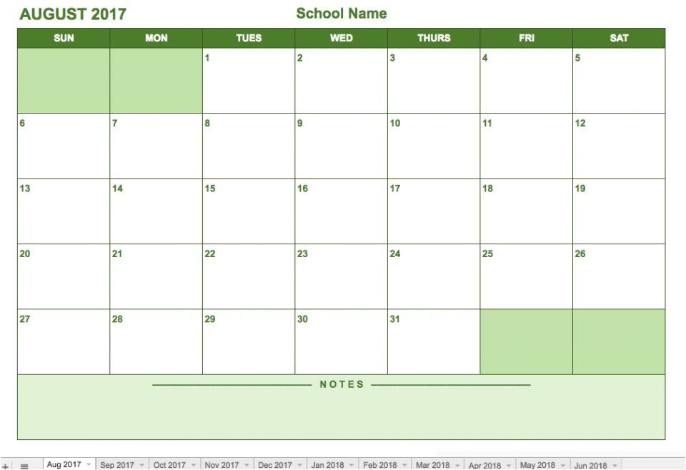 google drive calendar template