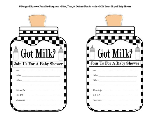 Got Milk Template Free Printable Download Black and White Invitation