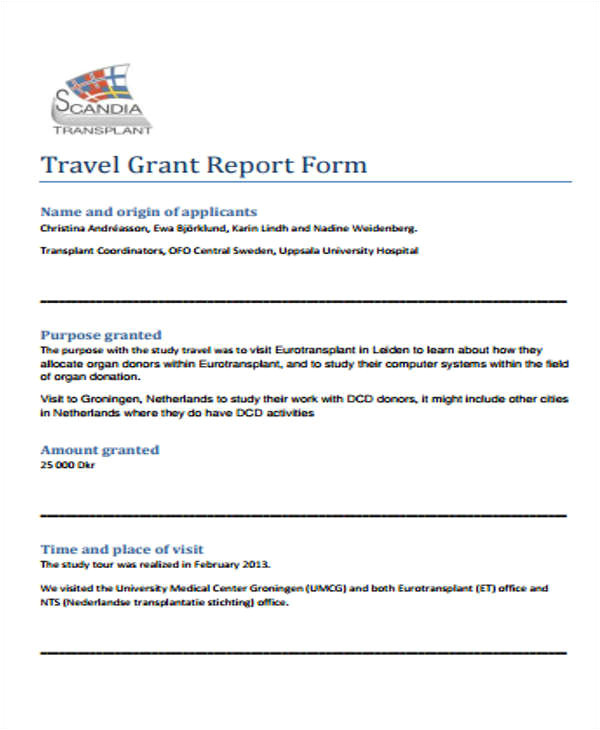 grant report templates