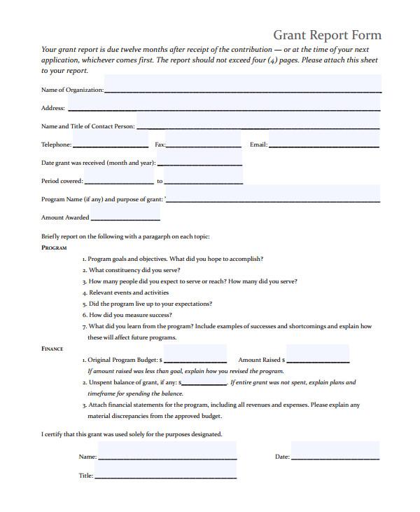 Grant Reporting Template 9 Sample Grant Report forms Sample Templates