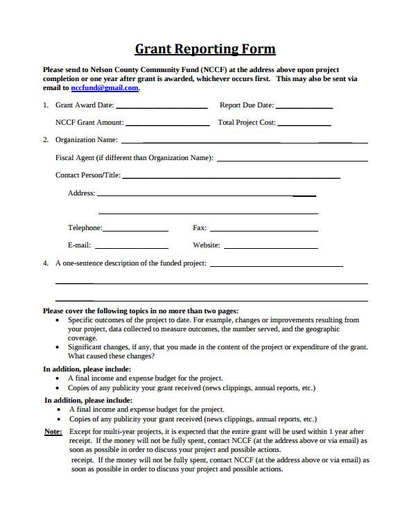 grant reporting template