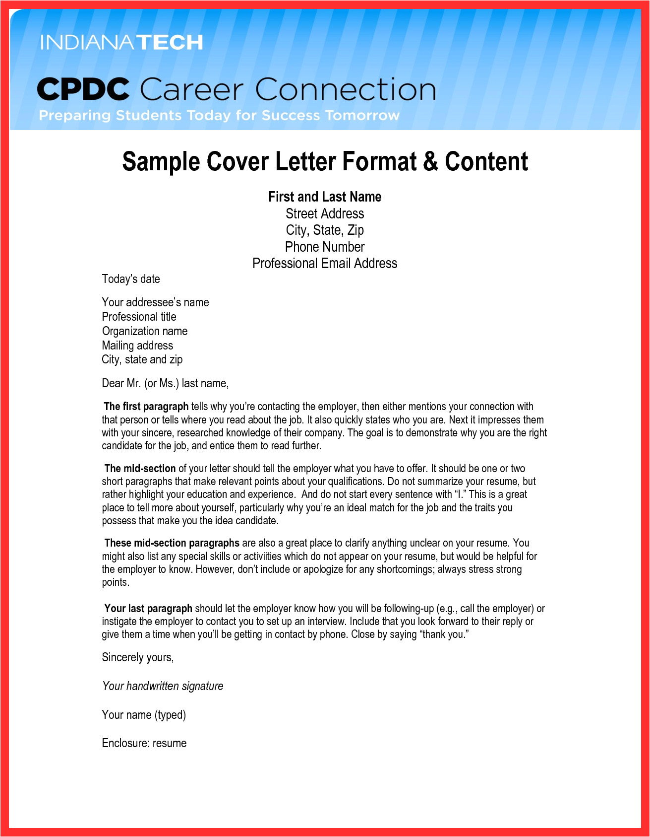 sample email format