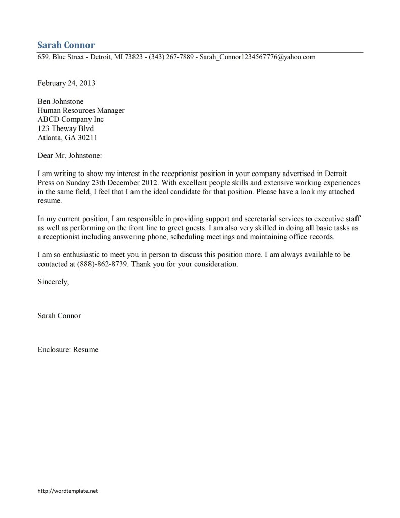 Great Receptionist Cover Letters Receptionist Cover Letter Template