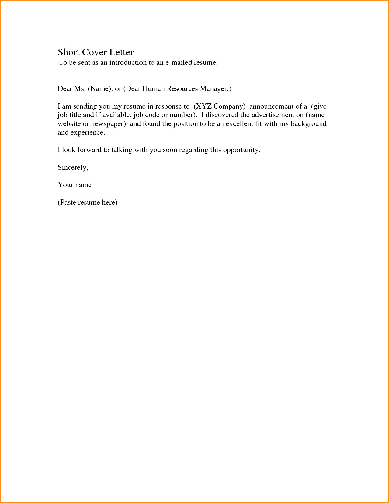 example short cover letter