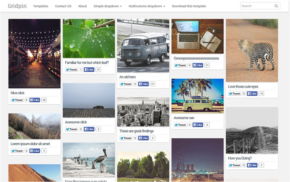 grid style blogger templates