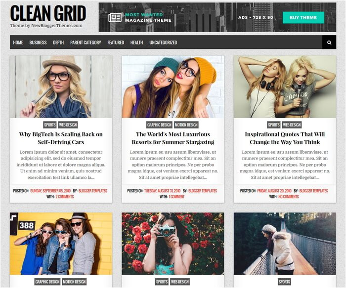 clean grid blogger template