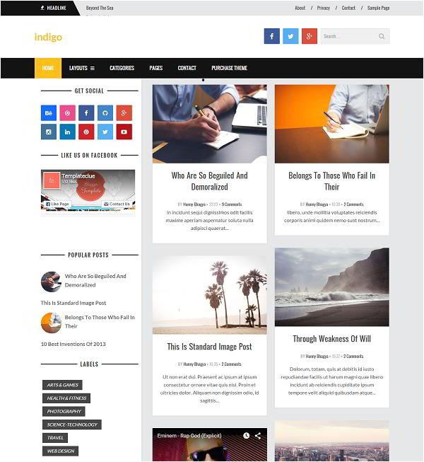 indigo grid based blogger template
