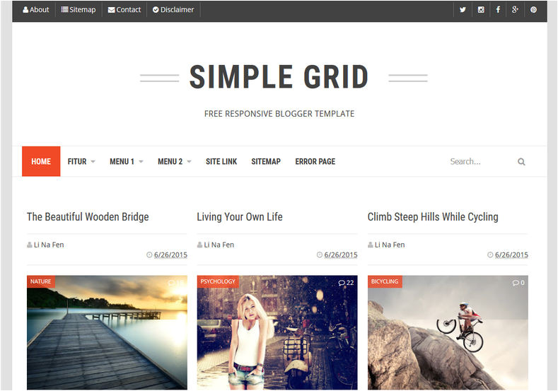 Grid Style Blogger Templates Simple Grid Blogger Template Blogspot Templates 2018