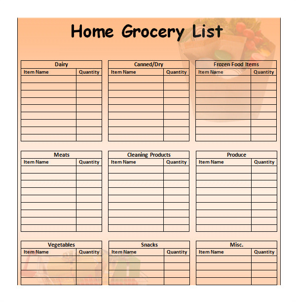 grocery list template