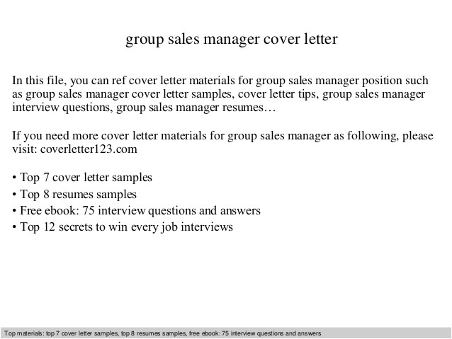 group sales manager cover letter