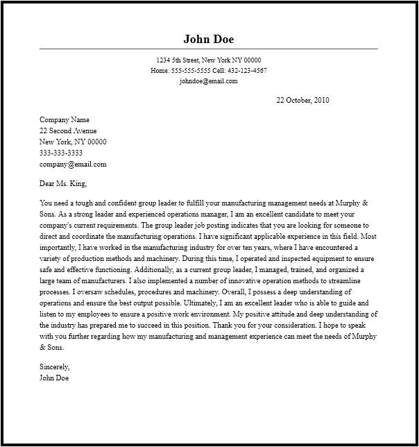 Group Leader Cover Letter Professional Group Leader Cover Letter Sample Writing