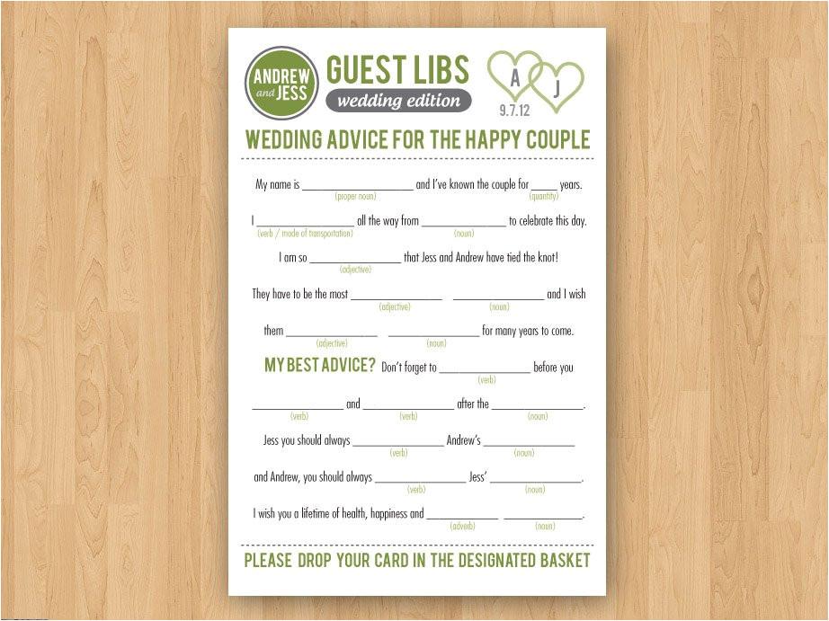 diy printable wedding mad libs guestbook