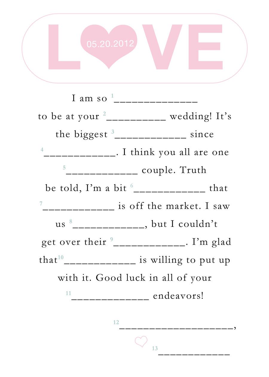 Guest Libs Wedding Edition Template Free Printable Wedding Mad Libs Template Vastuuonminun