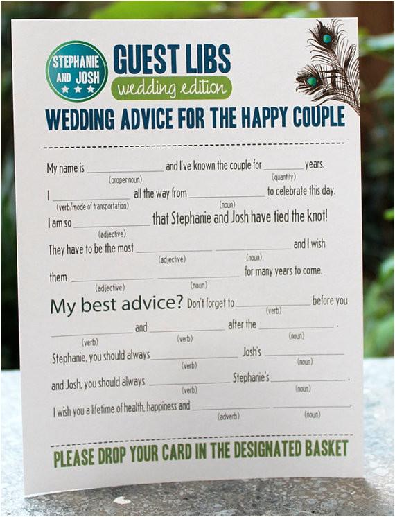 Guest Libs Wedding Edition Template Mad Lib Guest Book Emmaline Bride