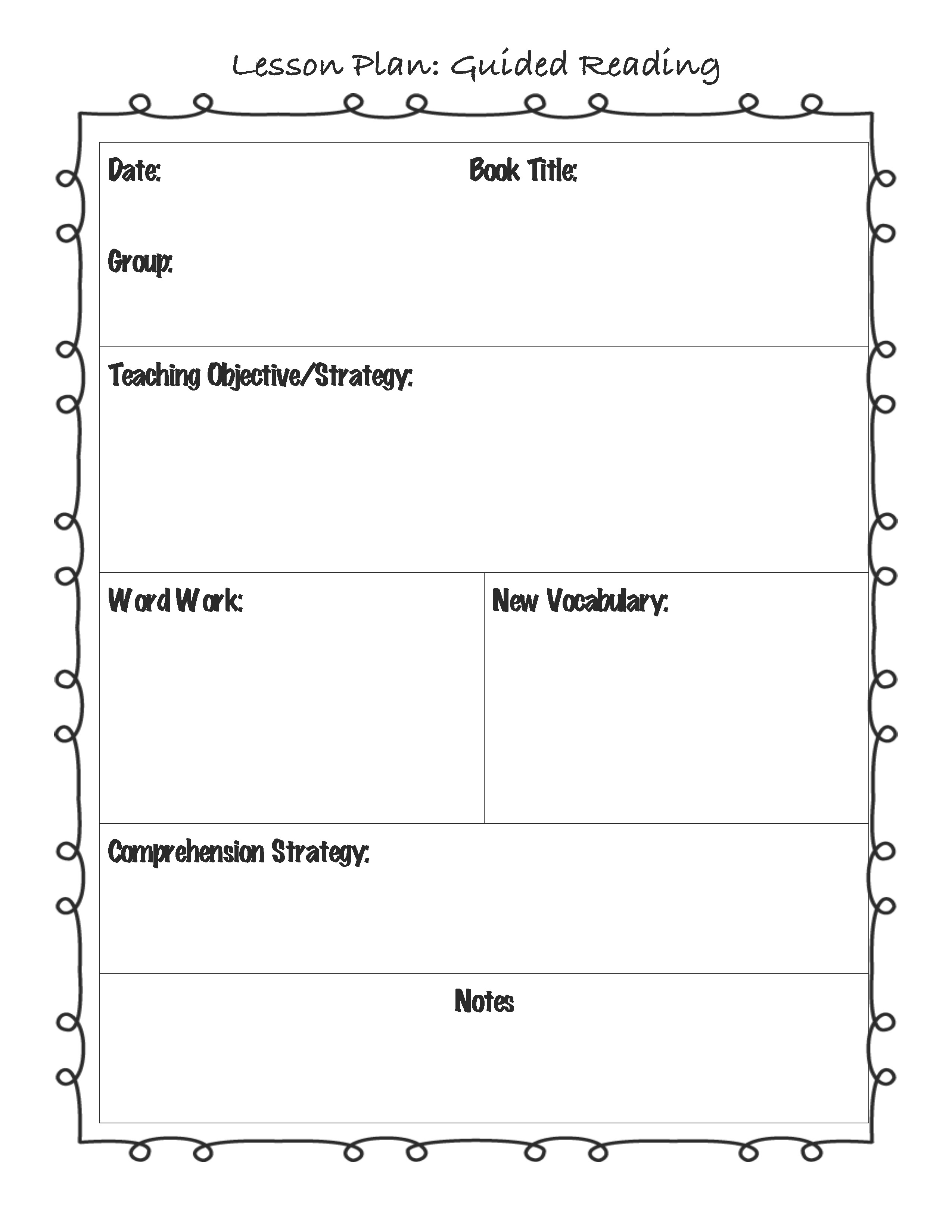 Guided Reading Observation Template Guided Reading Lesson Plan Template for the Classroom