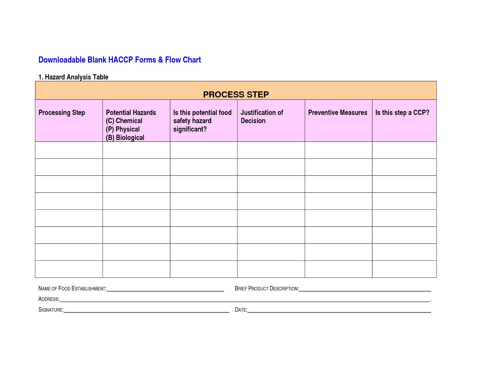 post blank haccp flow chart template printable 104196