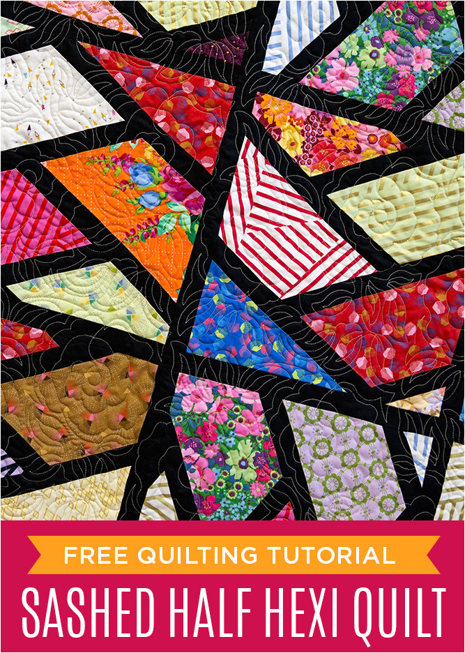 sashed half hexagon quilt