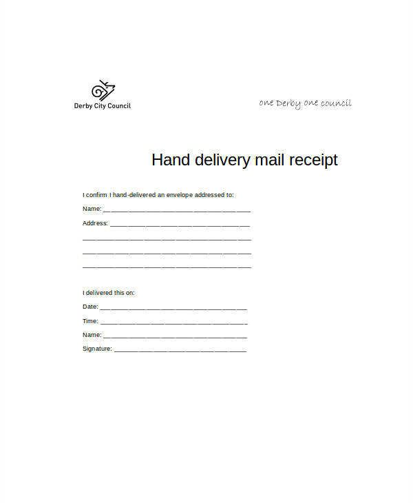 Hand Delivery Receipt Template 16 Sample Receipt forms In Doc Sample Templates