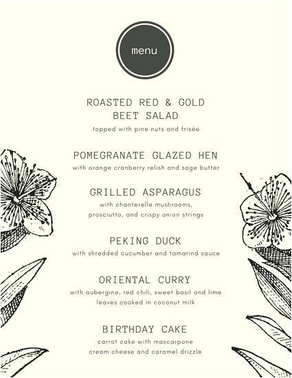 hawaiian menu template